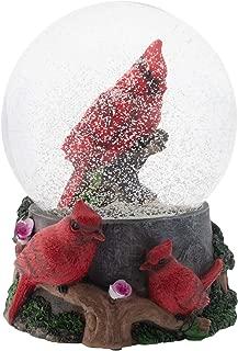 Elanze Designs Spring Blossom Cardinals 100MM Musical Water Globe Plays Tune Wonderful World