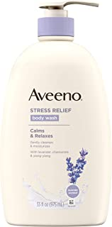 Aveeno Stress Relief Body Wash with Soothing Oat, Lavender, Chamomile & Ylang-Ylang Essential Oils, Hypoallergenic, Dye-Free & Soap-Free Calming Body Wash gentle on Sensitive Skin, 33 fl. oz