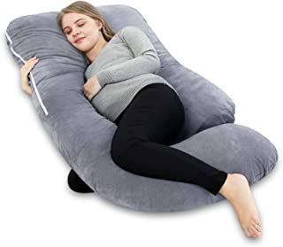 INSEN Pregnancy Pillow U Shaped, Maternity Body Pillow for Pregnant Women with Body Pillow Cover (Grey Velvet)