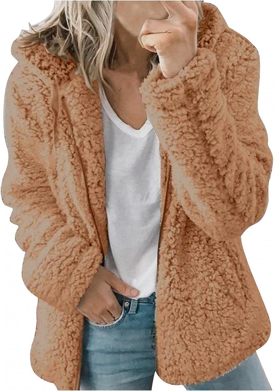 Womens Fleece Windproof Coats Long Sleeve Soft Chunky Knit jacket Open Front Sweatshirt Outwear Trench With Pockets