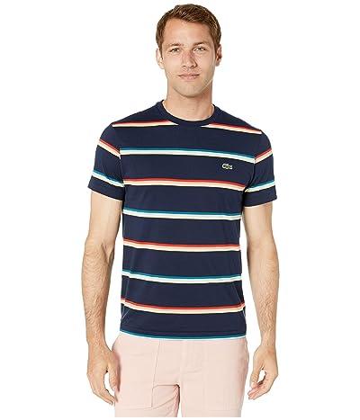 Lacoste Short Sleeve Striped Light Jersey Pima Cotton T-Shirt (Navy Blue/Multicolor) Men