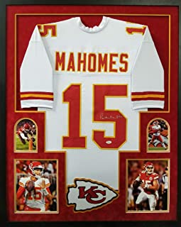 fbc4243e5 Patrick Mahomes Kansas City Chiefs Autograph Signed Custom Framed White  Jersey  15 Suede Matted JSA