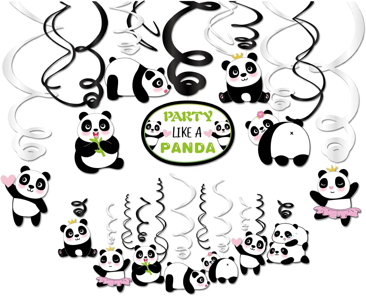Kristin Paradise 30Ct Panda Hanging Swirl Decorations, Panda Bear Party Supplies, Like a Panda Birthday Theme Decor for Boy Girl Baby Shower, 1st Bday Favors Idea