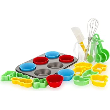 Boxiki Kitchen 24-Piece Kids Baking Set Muffin Pan, 6 Silicone Cupcake Liners, 10 Cookie Cutters, Spatula, Egg Whisk, Mini Measuring Cup and 4 Measuring Spoons