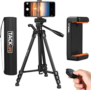 TACKLIFE 三脚 ミニ三脚 リモコン付き 一眼レフカメラ スマホ三脚 最大耐荷重5kg 4段階伸縮 3WAY雲台 360回転 軽量 アルミ合金製 iPhone/Android/各種類のカメラ対応 収納袋&スマートフォンホルダー付き MLT02