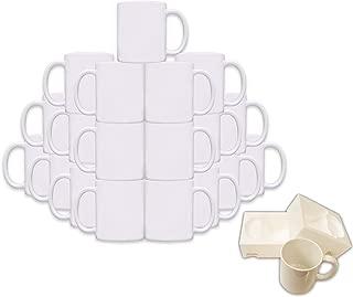 Mug 36-Piece Double Sublimation Coated Ceramic Mugs, 11 Oz, Blank All White and Black with Black Handle-Case of 36-White