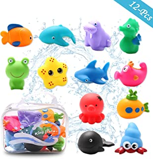 Conthfut Baby Bath Toys Bathtub Toys with 12Pcs Sea Animals Bath Toy Set Beach and Pool Party forToddlers, Girls and Boys