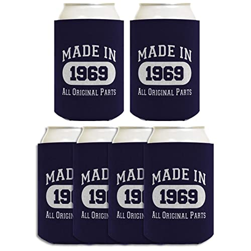 50th Birthday Gift Coolie Made 1969 Can Coolers Coolies 6 Pack Navy