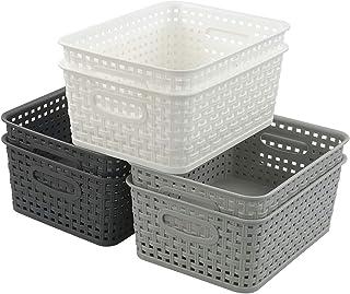 Leendine Set of 6 Plastic Woven Storage Basket Pantry Bin