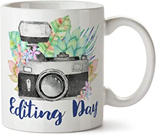 Editing Day Photography Photographer Gift Watercolor Succulent Camera Wedding - Coffee Mug Cup 11 Ounce Tea