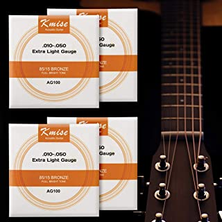 4 Sets Kmise Acoustic Guitar String Phosphor Bronze Extra Light Gauge 0.01-0.05 inch AG100