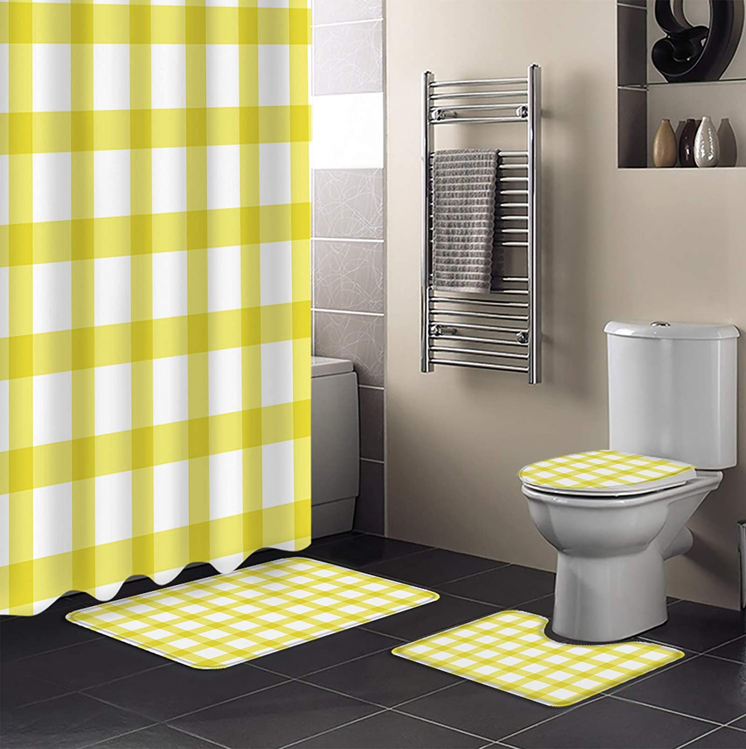 Sale Special Classic Price 4 Piece Shower Curtain Sets with Lid Toilet Non-Slip Cover Rugs