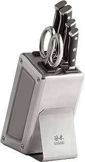 Sasaki 5245095 Masuta Japanese AUS-10 Stainless Steel Knife Block Set 6-Piece Brushed Silver