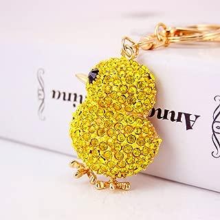 Jzcky Shzrp Cute Yellow Chicken Shape Crystal Rhinestone Keychain Key Chain Sparkling Key Ring Charm Purse Pendant Handbag Bag Decoration Holiday Gift