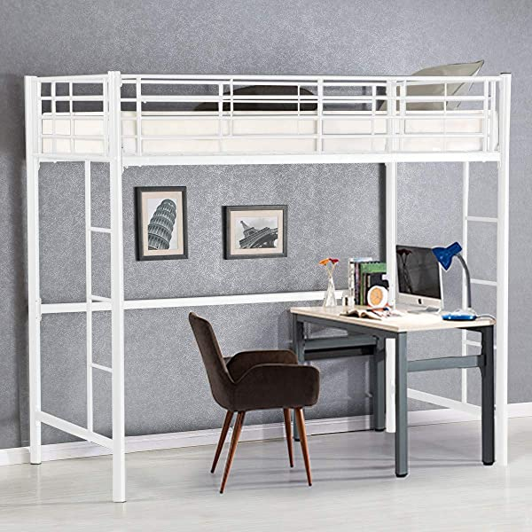 Costzon 双人金属阁楼床金属双层床带梯子护栏男孩女孩青少年儿童卧室宿舍白色