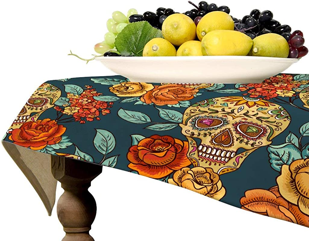 Fhdang Decor Rose Flower Skull Square Linen Tablecloth Flax Table Cover For Kitchen Dinning Tabletop Decoration 57 X 57 Inch