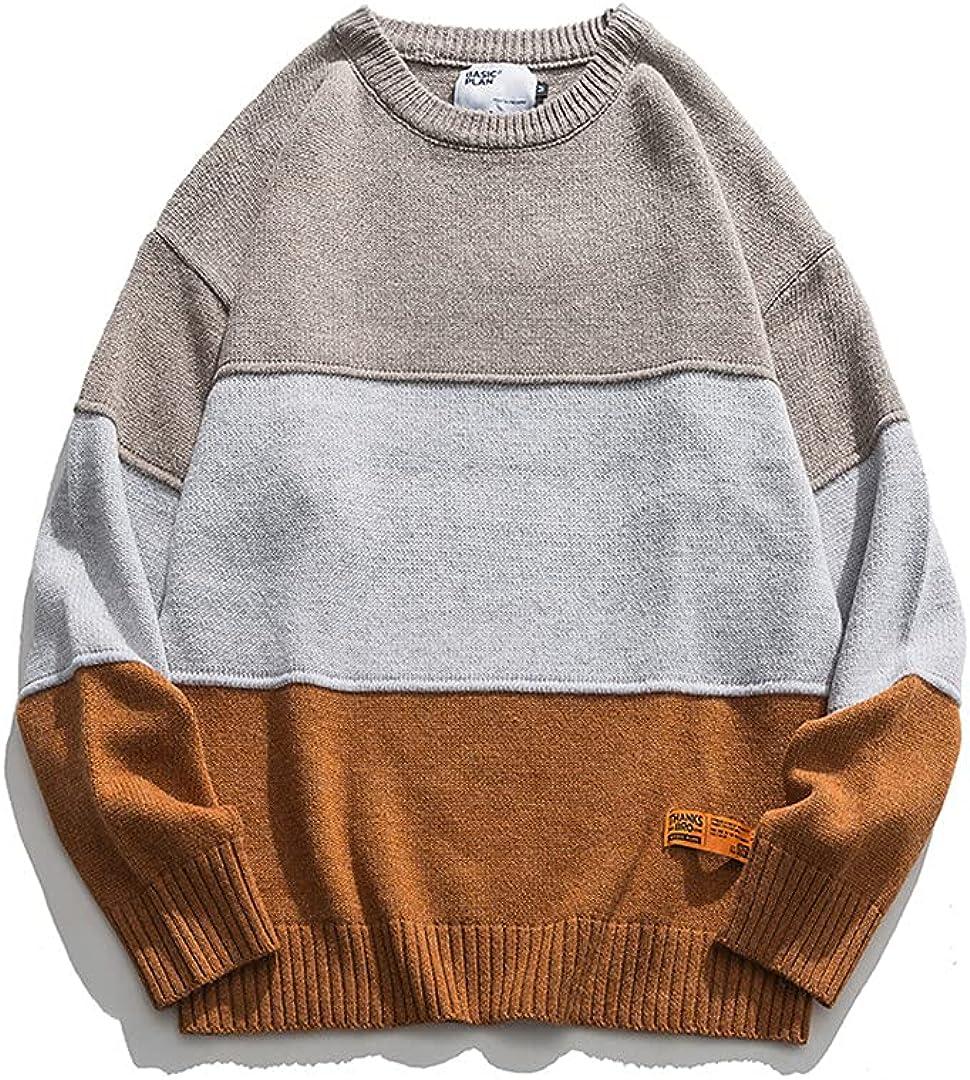 Male Autumn Winter Stripe Striped Round Neck Casual All-Match Sweater