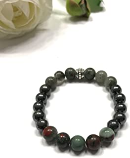 Natural Bloodstone and Hematite Unisex Stretch Bracelet. Root Chakra and Heart Chakra Balance. Mental Clarity and Calm.
