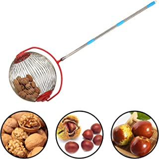 Rolling Nut Harvester Ball Picker, 5FT Stainless Steel Adjustable Nut Gatherer, Garden Picking Tools for Chestnuts, Pecans, Hickory Nuts