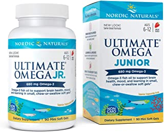 Nordic Naturals Ultimate Omega Junior - Support for a Healthy Heart, Brain and Mood in Developing Children, 90 Count, Strawberry (FFP)