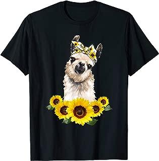 Llama Headband Sunflower T-shirt Llamas Lovers Shirt Gift
