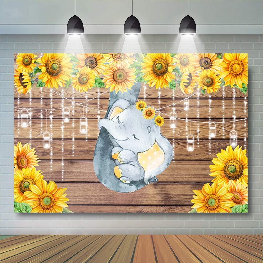 7x5ft Avezano Elephant Baby Shower Backdrop Sunflower Rustic Baby Shower Party Decoration Vinyl Light Jar Elephant Birthday Backgound