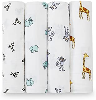 aden + anais Swaddle Blanket | Boutique Muslin Blankets for Girls & Boys | Baby Receiving Swaddles | Ideal Newborn & Infant Swaddling Set | Perfect Shower Gifts, 4 Pack, Jungle Jam