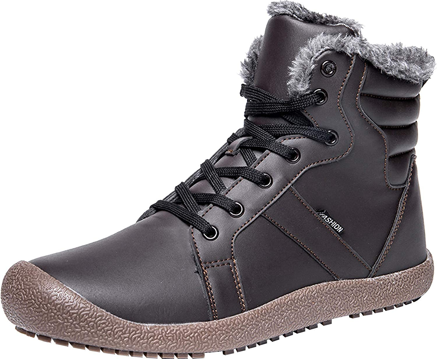 L-RUN Mens Snow Boots Winter Fur Boots Waterproof Ankle Bootie Men Casual shoes