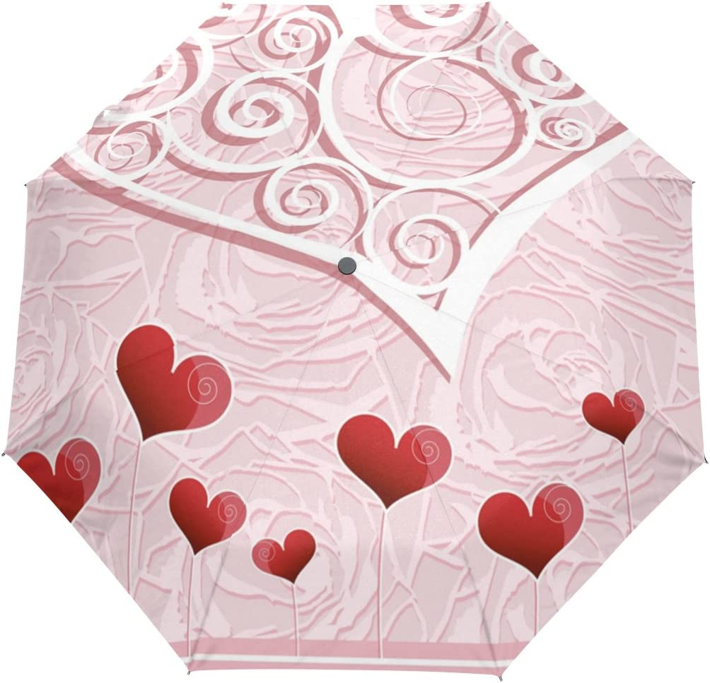 JSTEL Valentine's Dealing full price reduction Day Heart Boston Mall Windproof Clo UV Umbrellas Open Auto