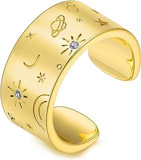 خاتم AllenCOCO مطلي بالذهب عيار 14 قيراط قابل للتعديل على شكل نجمة القمر مع حلقة عريضة للنساء، خواتم ربط ذهبية للنساء