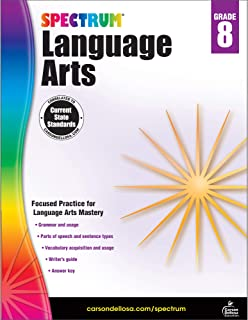 Carson Dellosa – Spectrum Language Arts, Focused Practice for Language Arts Mastery for 8th Grade, 160 Pages, Ages 13–14 with Answer Key