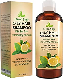 Volumizing Shampoo For Oily Hair - Vitamin Shampoo With Lemon Oil + Sage - Natural Hair Care - Thickening Balancing Cleanser With Anti-Dandruff Tea Tree + Anti-Itch Clarifying Rosemary For Women + Men