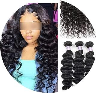 Allove Loose Deep Wave Bundles Peruvian Hair Bundles Human Hair Extensions 1/3/4 Bundles Deals Non Remy Hair Weave Bundles Weft,24 24 24