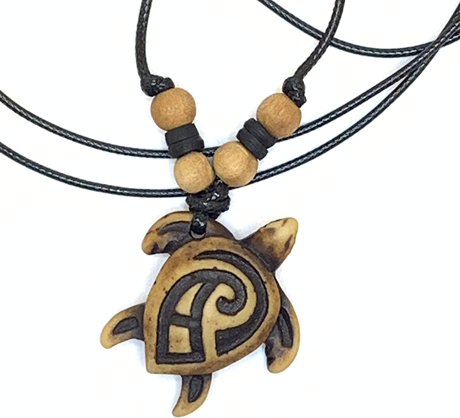 Turtle Tribal Brown Pendant Necklace - Hawaiian Turtle Necklace - Wood Beaded with Adjustable Black Cord