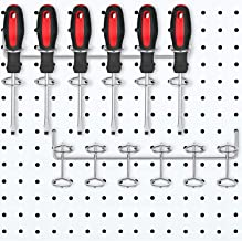 2 Pieces Screwdriver Holder Pegboard Six-Tool Multi-Tool Holder Accessory Pegboard Accessories Multi-Ring Tool Holder for ...