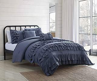S. L. Home Fashion 5 Piece Deni Denim Comforter Set Queen