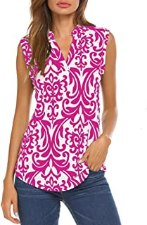 Women's Long Sleeve/Sleeveless Floral Print V Neck Henley Tops Blouse Shirts Tunic