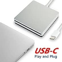 twtber Type -c External Optical Drive, Speed DVD Burner Drive, USB-c Super External DVD/CD rewritable Drive, for The Latest Mac pro/MacBook pro/asus/dell etc. - Silver. (PVG-1)