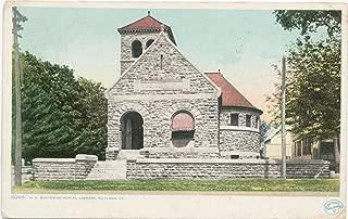 Historic Pictoric Postcard Print - H. H. Baxter Memorial Library, Rutland, Vt, 1898 - Vintage Fine Art