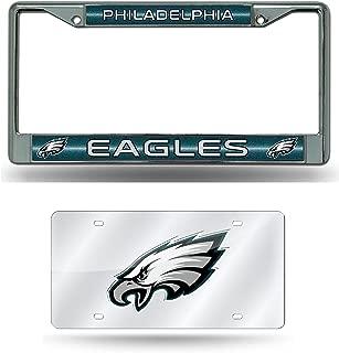 Rico Philadelphia Eagles NFL Glitter Bling Chrome License Plate Frame and Eagles Laser Cut Auto Tag