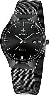 Wwoor Men Steel Mesh Quartz Date Watches Ultra Thin Black B