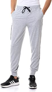 Off Cliff Cotton Contrast Side Stripe Drawstring-Elastic Waist Slim-Fit Sweatpants for Men