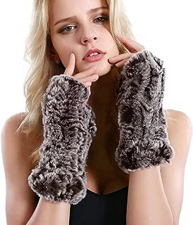 Women Fur Gloves - Real Rabbit Fur Mittens Winter Knit Warm Fingerless Hand Warmer