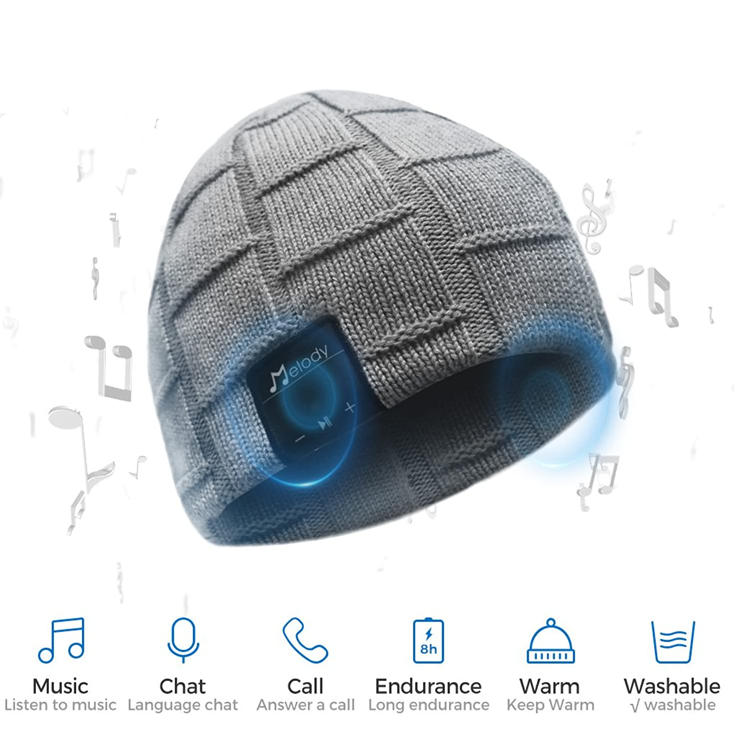 Bluetooth Beanie Hat, BCELIFE Wireless 4.0 Hands-Free Knit Music Cap with HD Stereo Speaker Headphone Mic Rechargeable USB for Winter Fitness Outdoor Sports &Christmas Gifts(Gray)