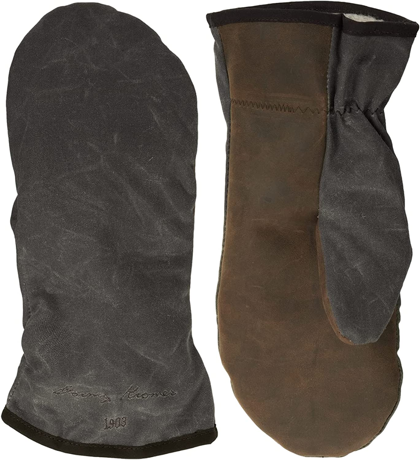 Stormy Kromer Waxed Tough Mitts - Water-Resistant, Goatskin Palm, Warm, Winter Mittens