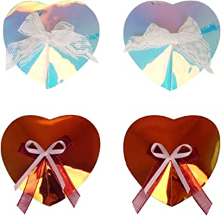 Ypser 2Pair Reusable Holographic Pasties Nipple Covers Rave Breast Petals Bra Pad