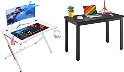 """Mr IRONSTONE White Gaming Desk 45.3"""" Gaming Table Home Computer Desk & 47.2"""" Modern Simple Style Working Computer Desk"""