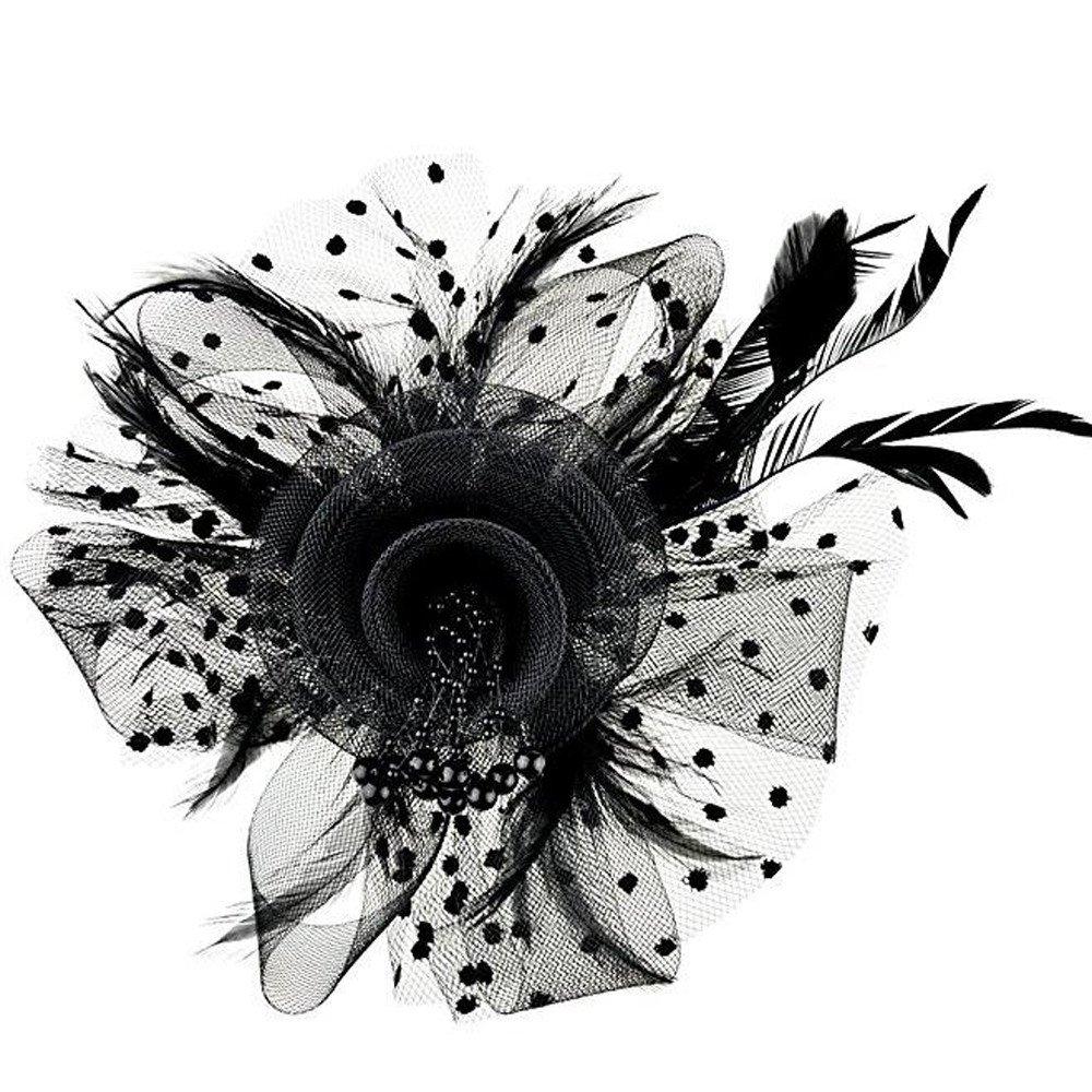 ManxiVoo Fascinators Hat Flower Feather Mesh Ribbons Derby Tea P