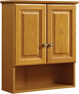 "Design House 531962 Claremont 2-Door Wall Cabinet 21"", Honey Oak, 18"" x.."