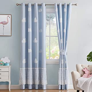 Vandesun Cloud Curtain Panel with Grommet Top for Kids Room Nursery Room Blue Sky with White Clouds - 2 Panels (Blue, 52 x 95)